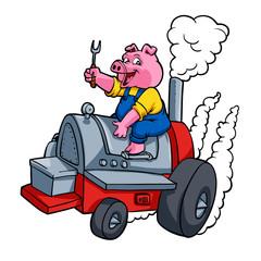 Chef Pig riding an BBQ barrel