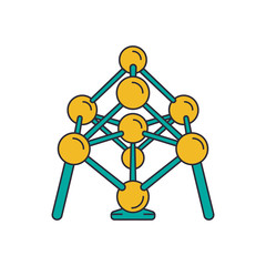 Atomium icon, cartoon style