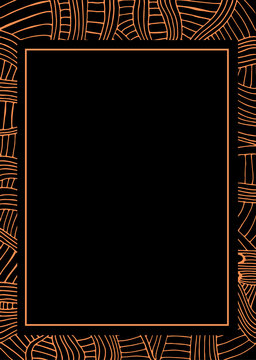 Abstract frame african pattern, ethnic style, stylish background, orange color line, isolated on black background.