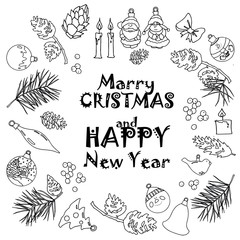 The inscription and the individual elements in the New Year theme: cones, fir branches, balls, toys, candles, berries, bows