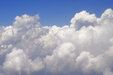 Beautiful cloud formations on the blue sky