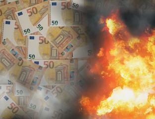 state of emergency cash money fire flames 3d-illustration