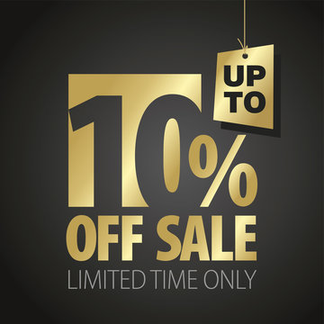 10 percent off sale discount limited time gold black background