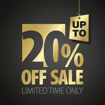 20 percent off sale discount limited time gold black background