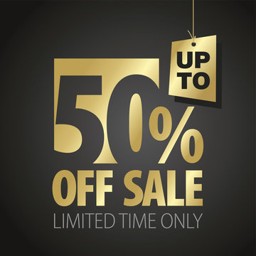 50 percent off sale discount limited time gold black background