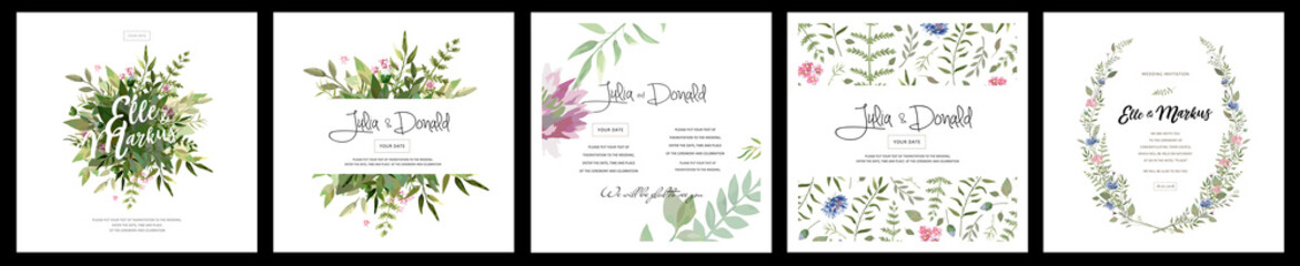 big set of watercolor vector cards with flowers and leaves. Wedding ornament concept. Floral magazine, poster, invite. Vector layout decorative greeting card or invitation design background