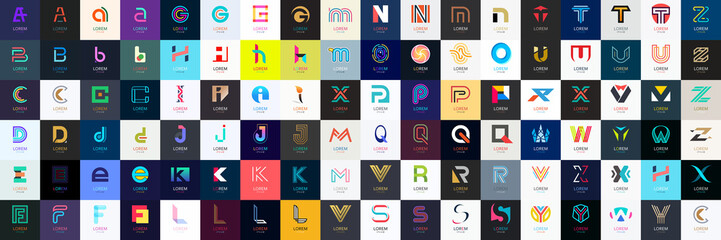 Abstract logos mega collection with letters. Geometrical abstract logos