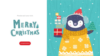 merry christmas, cute card for congratulations happy new year, vector flat stylized illustration of Santa Claus penguin  character in hat with scarf, Christmas tree and gifts under the snow