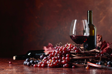 Red wine and fresh grapes with dried up vine leaves. Fototapete