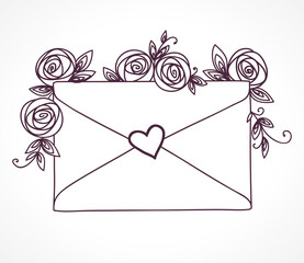 Envelope sealed with heart with roses flowers