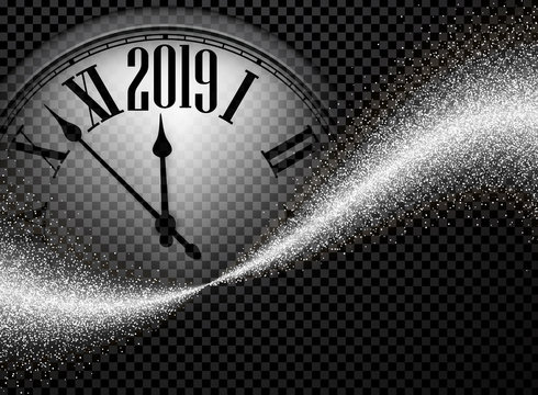 Silver shiny 2019 New Year background with clock.