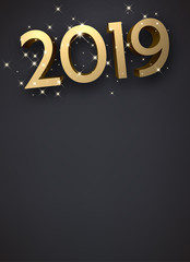 Grey New Year background with gold shiny 2019 sign.
