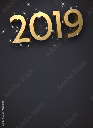 grey new year background with gold shiny 2019 sign