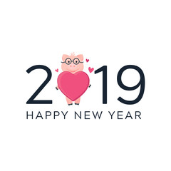 Vector Illustration. 2019 card with pig. Cartoon pink piglet with heart in glasses. Happy New Year poster