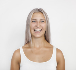 hair color silver laughing girl