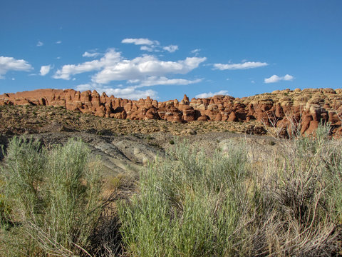 Panoramic view of the strange brown and orange  rock formations at Arches National Park, Utah, USA