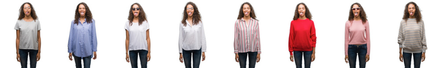 Composition of young brazilian woman isolated over white background sticking tongue out happy with funny expression. Emotion concept.