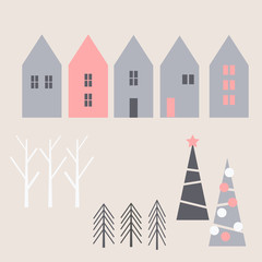 Winter Christmas houses and trees. Vector  illustration.