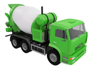 green concrete Mixer Truck  front or side view isolated on a white background 3d ren