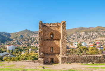 View of the ruins of the Genoese fortress and the city of Sudak in the Crimea