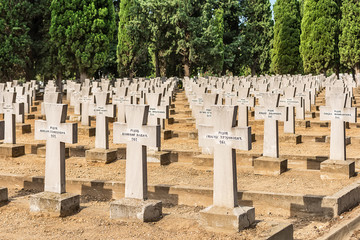 Thessaloniki, Greece - August 16, 2018: Zeitenlik war cemetery in Thessaloniki.  Contains the graves of the Serbian, French, British, Italian and Russian soldiers.