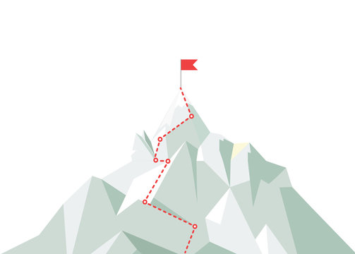 Mountain climbing route to peak. Business journey path in progress to peak of success. Climbing road to top. Vector illustration.
