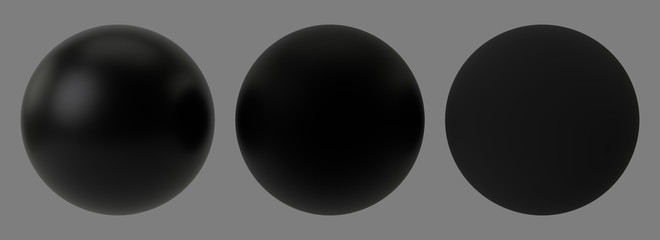 Three different types of black spheres