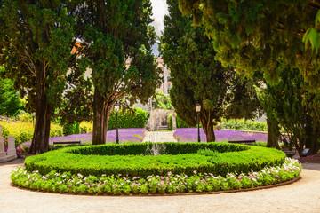 Classic italian garden in Trento with lavender flowerbed