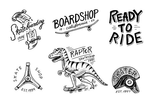 Set of Skateboarding labels logo. Skater Dinosaur tyrannosaur rex rides on the board.. Urban design for badges, emblems t-shirt typography. engraved hand drawn sketch in monochrome vintage style.