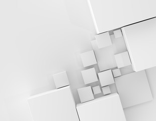 Abstract geometric shape cubes gray background 3d illustration