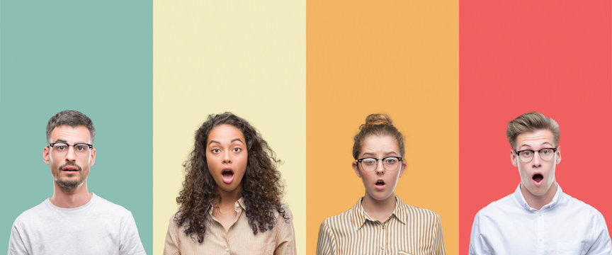 Collage of a group of people isolated over colorful background afraid and shocked with surprise expression, fear and excited face.