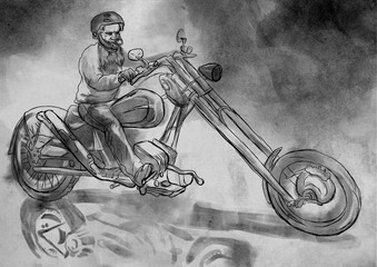 Biker.An hand drawn illustration, freehand sketching.