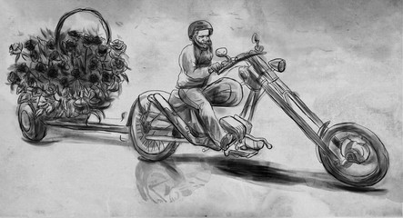 Biker. Love Maker. An hand drawn illustration, freehand sketching.