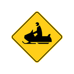 USA traffic road signs. snowmobile ahead or crossing. vector illustration
