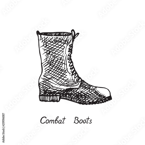 Combat Boots, isolated hand drawn outline doodle, sketch