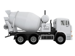 white concrete Mixer Truck  front or side view isolated on a white background 3d rendering