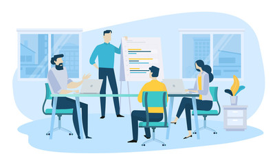 Vector illustration concept of business meeting, teamwork, training, improving professional skill. Creative flat design for web banner, marketing material, business presentation.