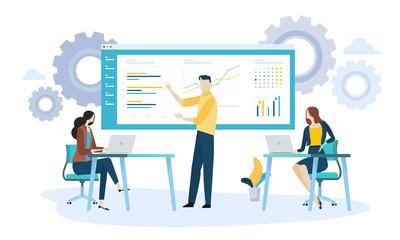 Vector illustration concept of product development. Creative flat design for web banner, marketing material, business presentation.