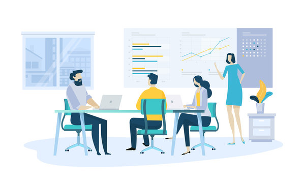 Vector illustration concept of company annual report, business presentation . Creative flat design for web banner, marketing material, business presentation.