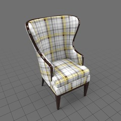 Checkered wingback chair
