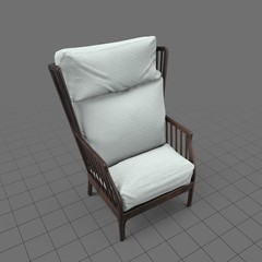 Wooden wingback chair