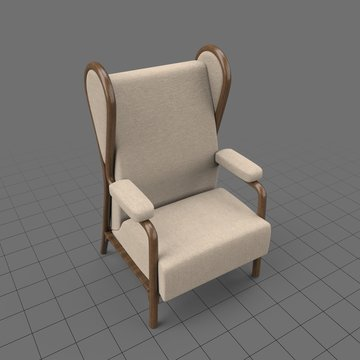 Wooden frame wingback chair