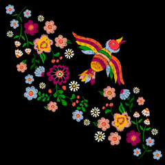 Embroidery ethnic pattern with bird and flowers. Vector embroidered traditional floral design for fashion fabric.