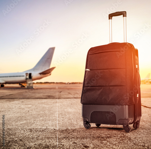 suitcase and airport background