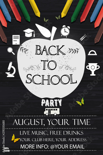 Back To School Party Invitation Poster Template Vector Illustration