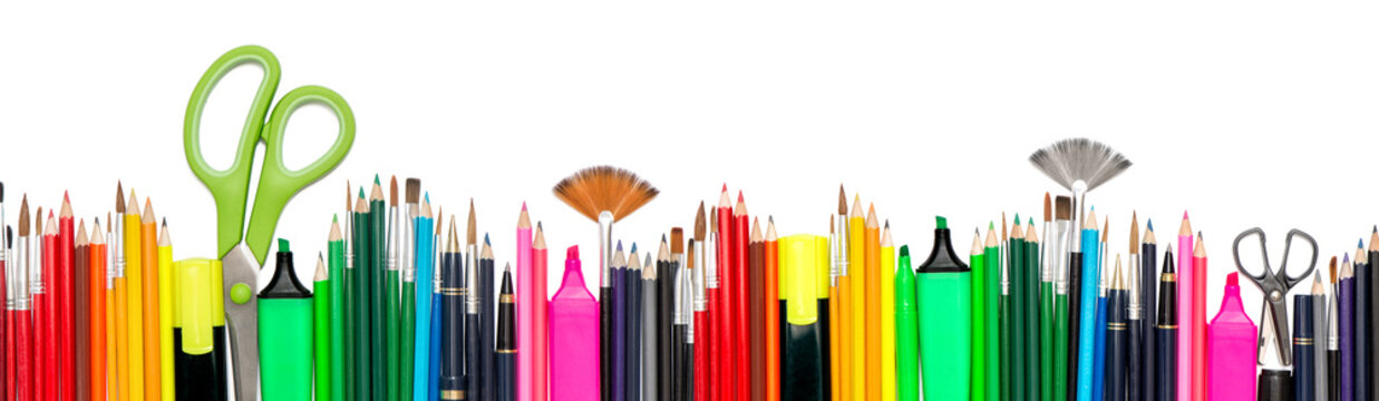 Back to school Stationery tools supplies white background