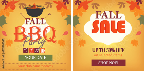 autumn events business background layout set of templates with