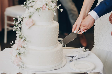 Obraz bride and groom holding knife and cutting stylish white wedding cake with flowers. modern big wedding cake with pink and white roses. luxury catering in restaurant. wedding reception - fototapety do salonu