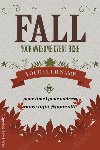 Fall Event Invitation Flyer Grunge Vector Illustration Fall
