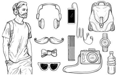 Sketch of hipster man and Men's Accessories set.